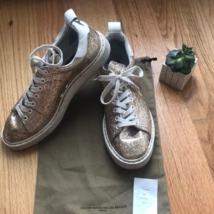 Golden Goose Deluxe Brand Gold Glitter Shoes 8.5